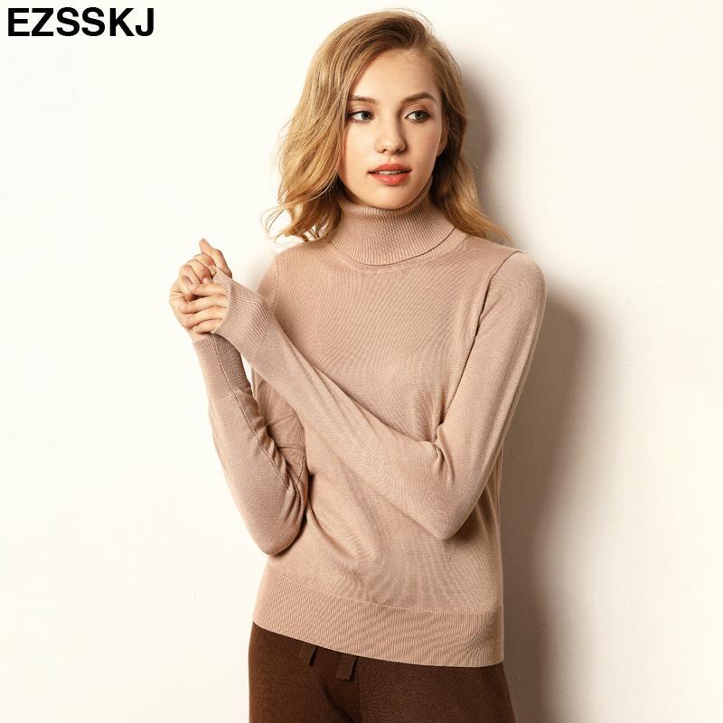Autunno primavera sciolto MAGLIA pullover casuale delle donne manica lunga sottile casuale maglione dolcevita grande dimensione femminile S-XL Y200819