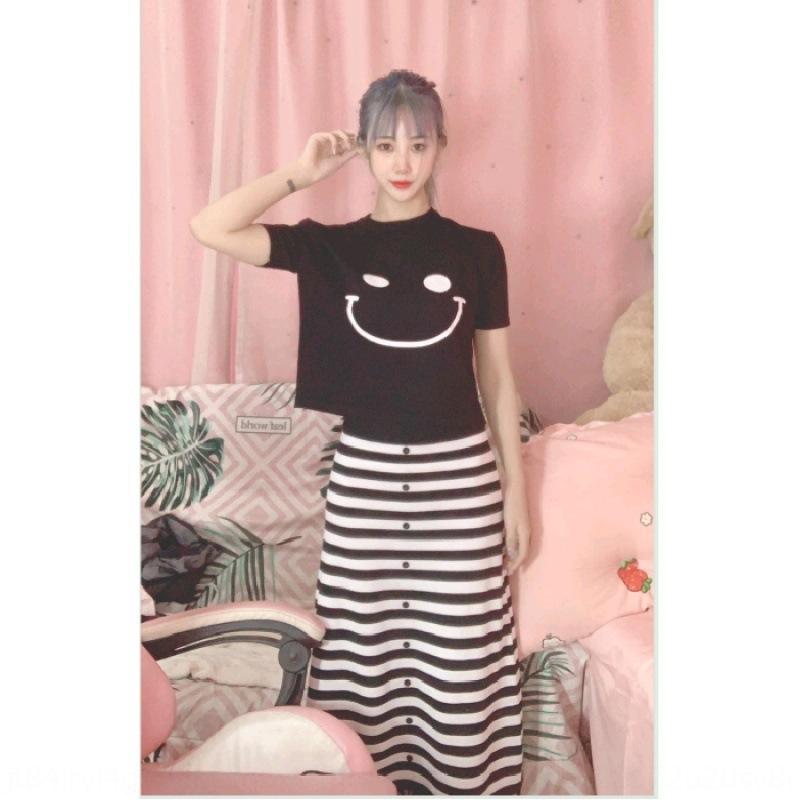 Rayas altura de la rodilla de la falda de las mujeres de punto nueva camiseta grande y cara sonriente camiseta de la manera de envejecimiento de dos piezas