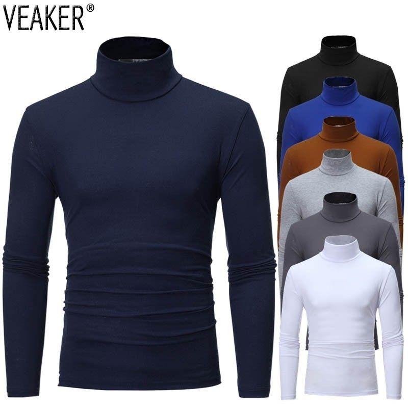 2020 Solid Camicie colori Dolcevita T dei nuovi uomini di Maschio Slim Fit Long Sleeve T Shirt Uomo Nero Bianco maglietta delle parti superiori M-3XL