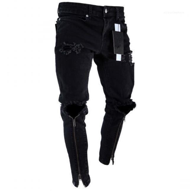 Diseñador de pantalones vaqueros rasgados Negro Slim Fit Represen lápiz de los pantalones para hombre de la cremallera Agujeros