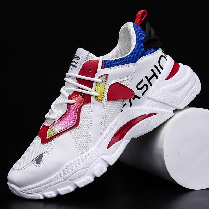 Hommes Chaussures de sport respirant Chaussures de sport pour homme 39-44 Marcher Casual Chaussures Mesh formation semelle épaisse marche Chaussures blanches Chaussures