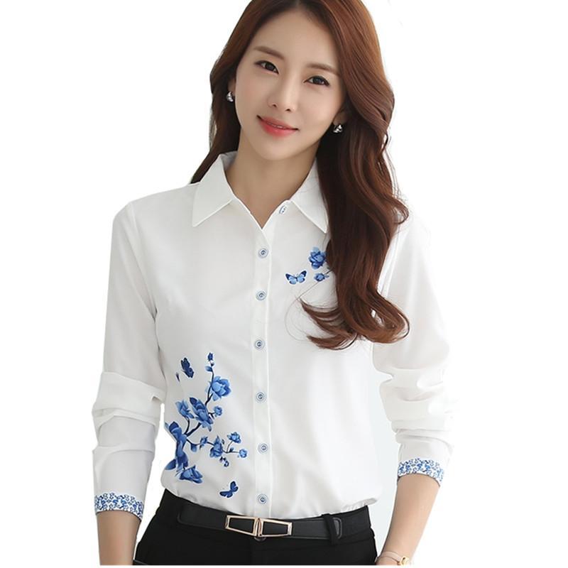 Blanc imprimé fleurs à manches longues Chemisier Femmes 2020 Travail élégant Printemps Eté Slim Bureau Taille Plus Shirt Chemisier blanc Casual Top