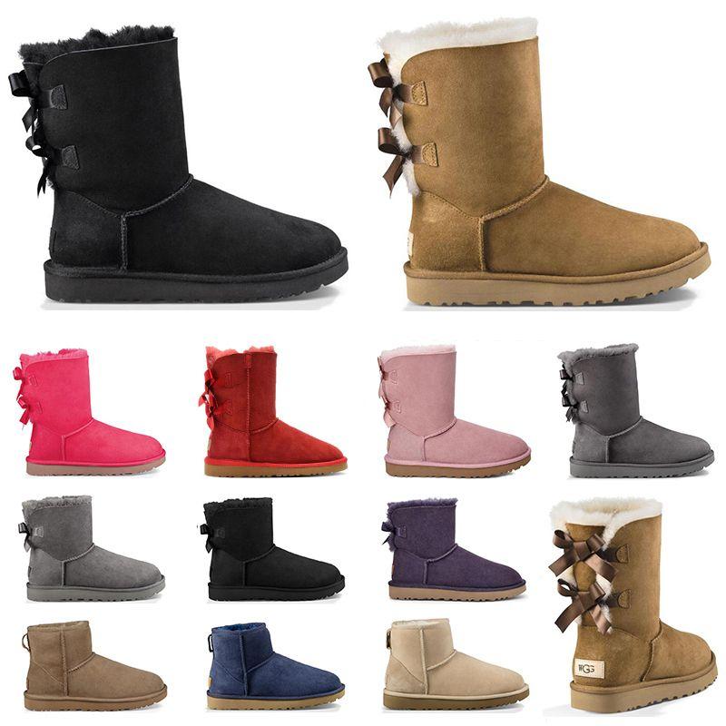 2020 boots 여성 스노우 부츠 트리플 블랙 밤나무 브라운 핑크 네이비 블루 그레이 레드 패션 클래식 발목 짧은 부츠 여성 부티 겨울 신발