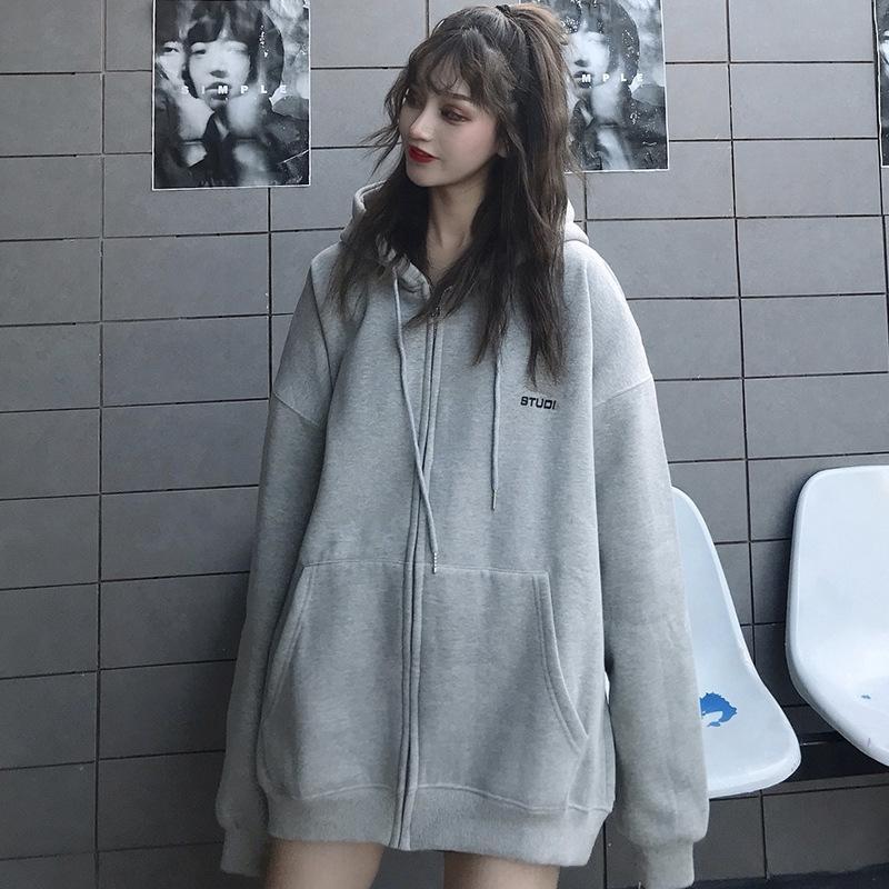 Zxli3 2020 début manteau cardigan lâche chandail fermeture éclair femmes de grande taille grise impression mince manteau d'automne de la mode New Hoodie hoodiel1Rez