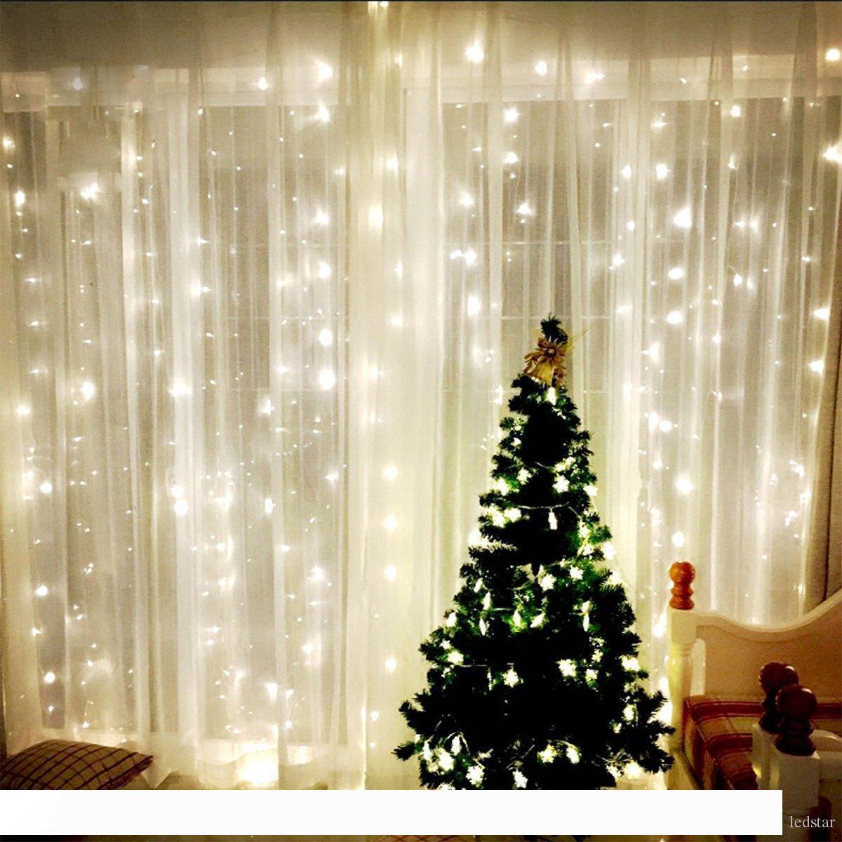 9.8FT 3x3m 300LEDS огни Свадьба Рождественские струнные рождения День рождения Открытый Дом Декоративные Феи Занавес Гирлянды