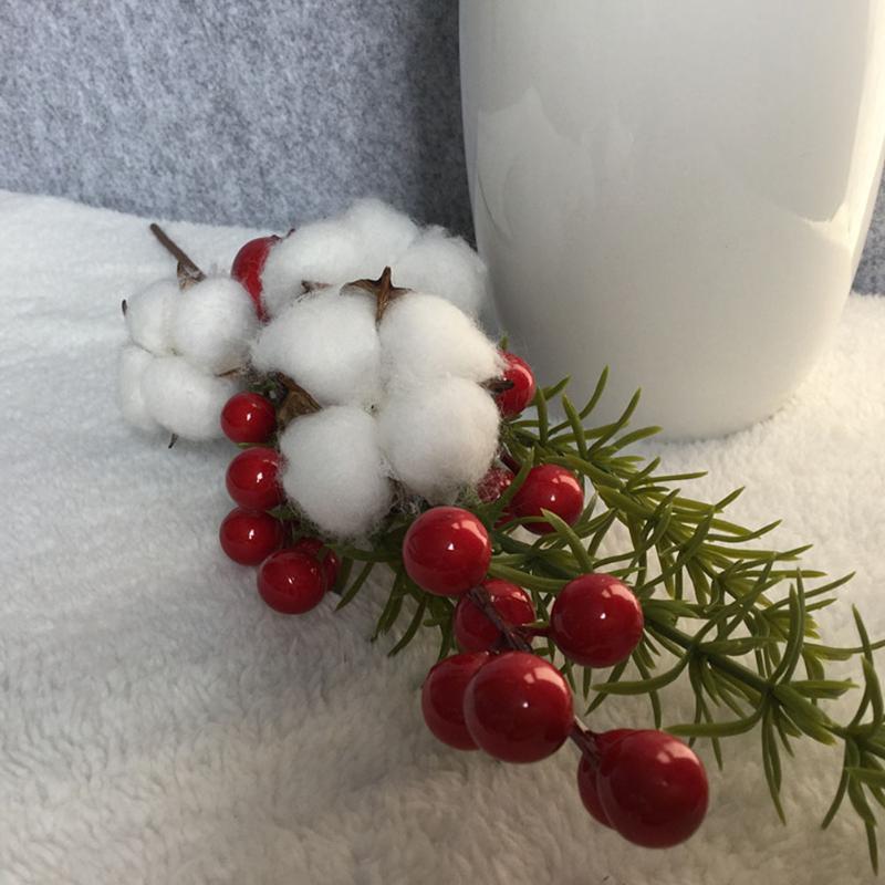 3 Forks simulado algodón rama de la flor Bayas Arreglo de disparo Puntales ornamento de la boda del partido Inicio