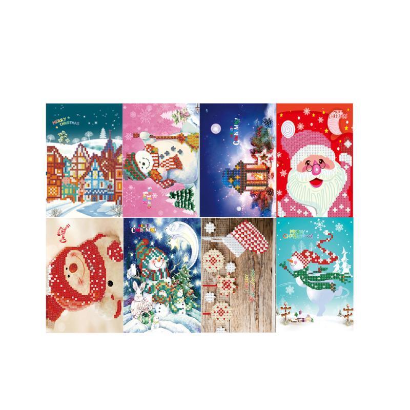 Feliz Navidad hecha a mano tarjetas de bricolaje diamante Pintura Tarjetas Ronda Taladro Tarjetas de diamantes de imitación de bordado Artes Crafts regalo
