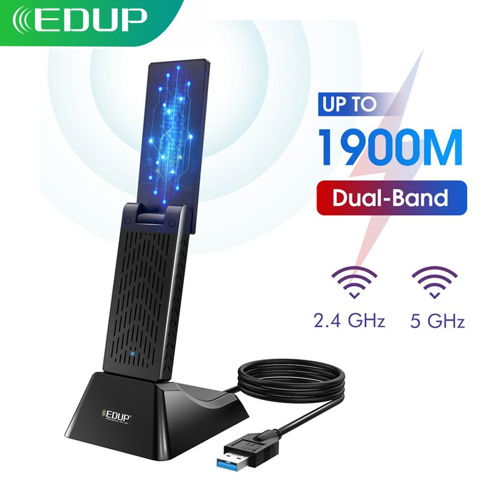 EDUP 1900Mbps USB 3.0 WIFI Adapter Dual Band 5Ghz/2.4Ghz USB AC Network Card Wifi Long Range Receiver Antena for Laptop Desktop
