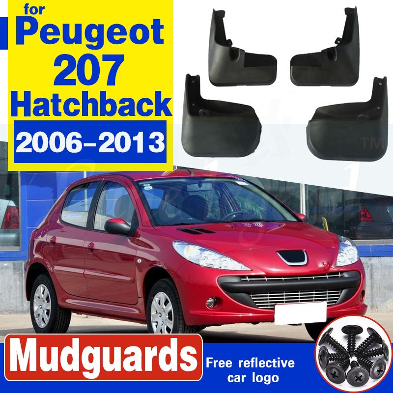 Pare-boue arrière avant voiture BOUE Garde-boue Fender Pour Peugeot 207 2006-2013 hayon Accessoires voiture Bavettes 4pc