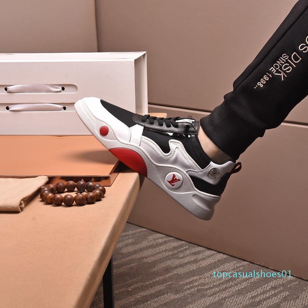 2020 O1 Moda Trend Tasarımcı Erkek Ayakkabı Deri Mesh Nefes Rahat Açık Ayakkabı Dantel-up Casual Yürüyüşçülerden Ayakkabı Erkek Sneakers3 T01