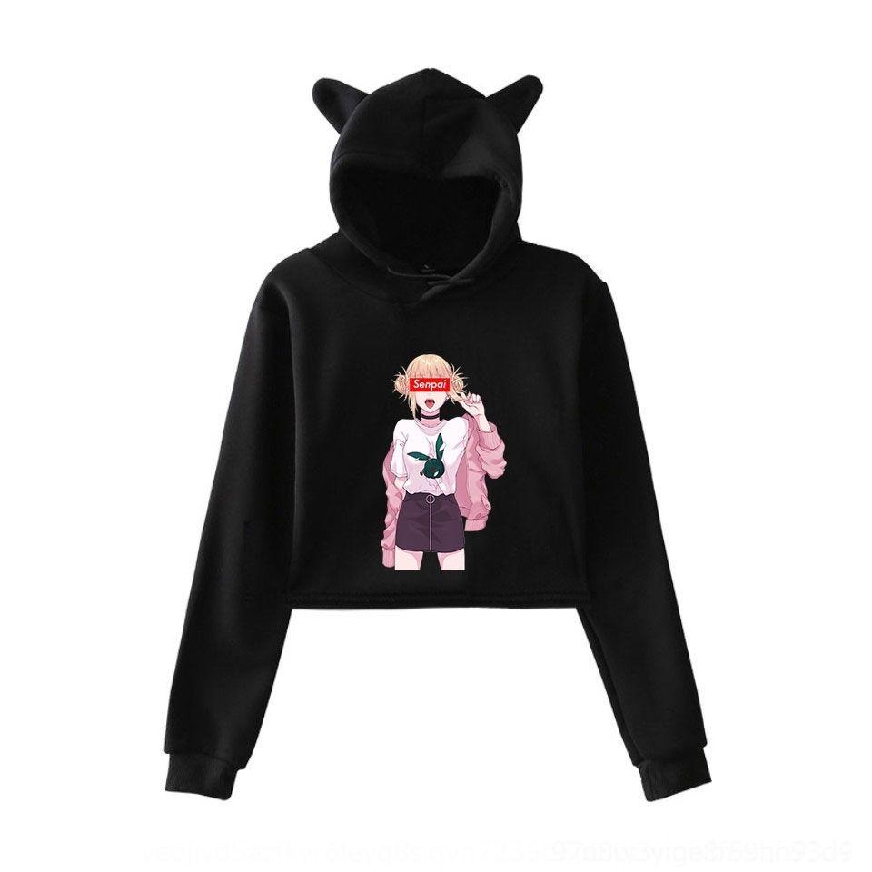 20yjh eRFCV мультфильм аниме девушки Сенпай напечатаны мило женщин кот мультфильм аниме уха с капюшоном девушки свитер Сенпай напечатаны мило женщин кота уха капот