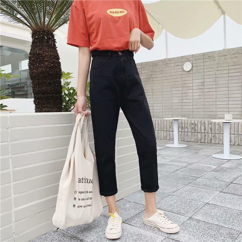 pantalones vaqueros de cintura alta de adelgazamiento de alto perfil de las mujeres que adelgaza los pantalones vaqueros de pierna ancha 2020 Primavera fregona nueva pierna ancha pantalones rectos flojos