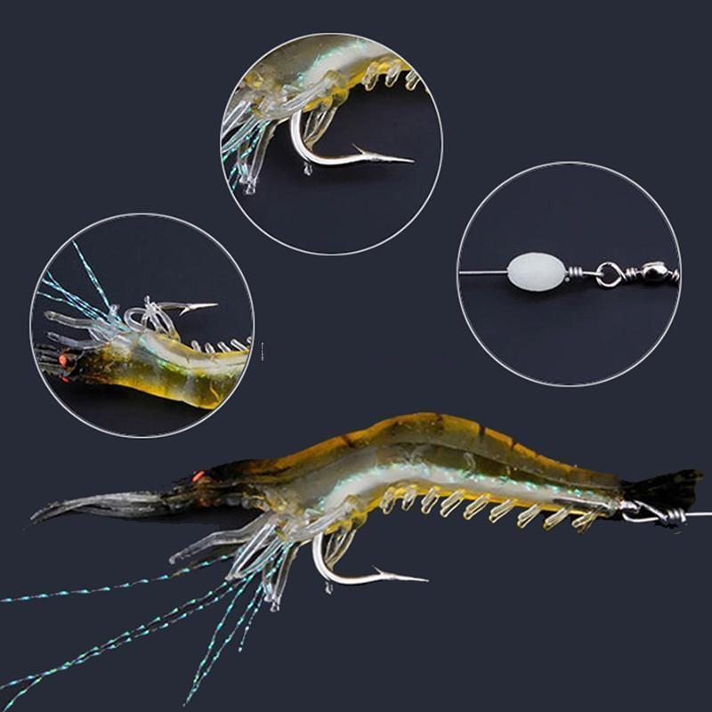 Hook gambero di pesca a forma di galleggiante esche artificiali Bionic gamberetti gancio caldo Lure 90 millimetri 7g Con Morbido di simulazione Bait Prawn 10pcs BDE2011 wjjL