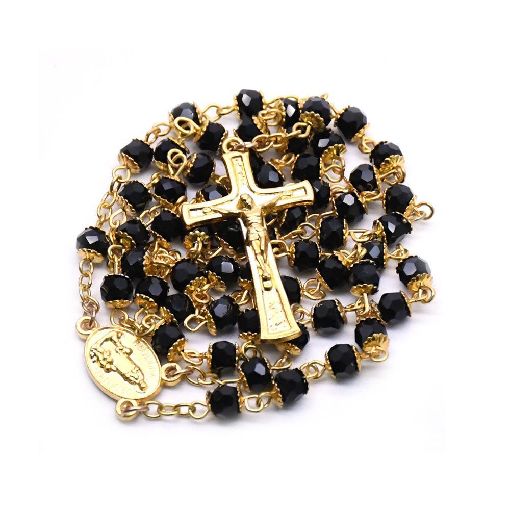 İsa Katolik Siyah Kristal Altın Our Lady of El yapımı İsa tespih Çapraz kolye Din Hıristiyan Aksesuarları Noel Hediyesi