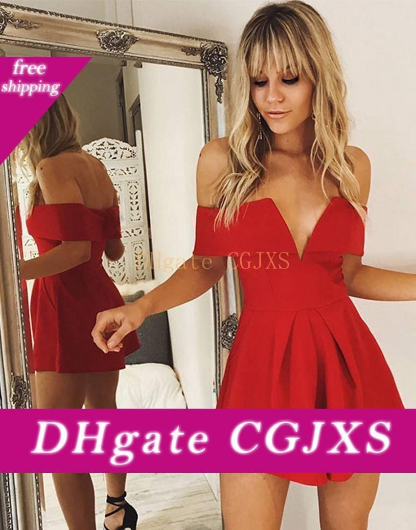 Netter V -Neck Mini Short Red Partei-Kleid mit Flügelärmeln Satin Reißverschluss hinten Satin-Heimkehr-Cocktail-Abschlussball-Kleider