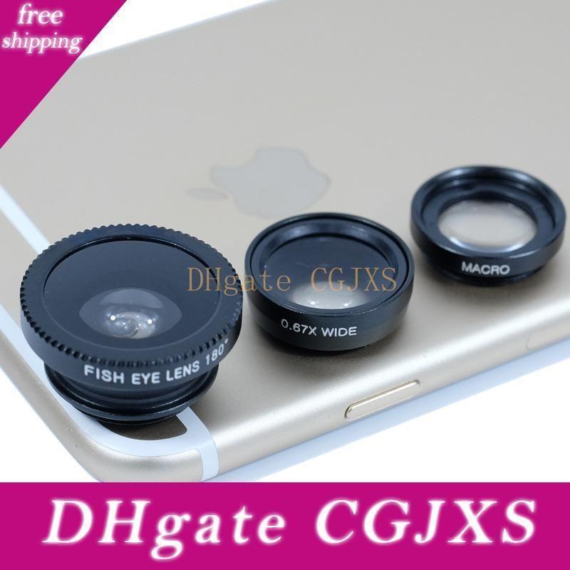 3 in 1 Universal-Clip Kamera-Handy Objektiv-Fisch-Augen-Makro Weitwinkel für Iphone 8 X Samsung Galaxy S9 HTC Huawei