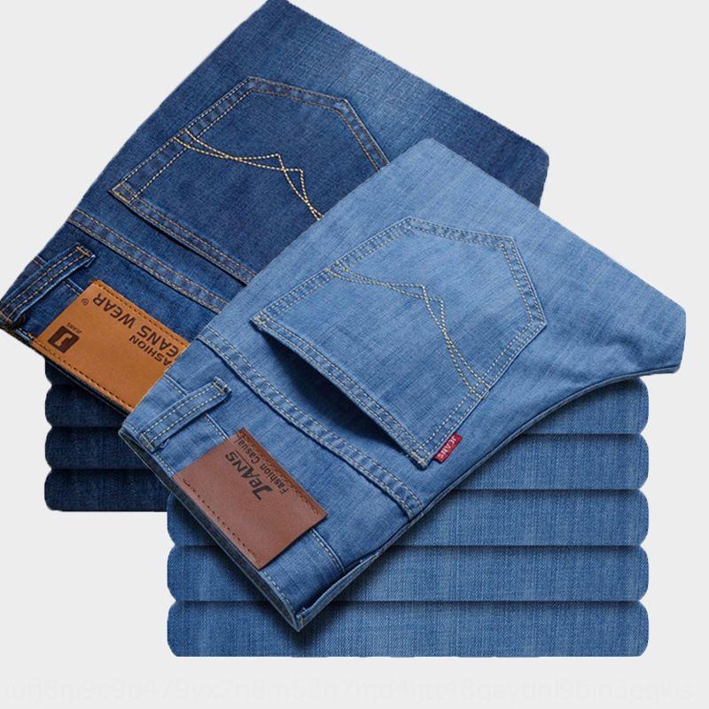 2020 и брюки и джинсы летние джинсы мужские прямые Tencel тонкие брюки плюс жир модных мужские длинные штаны тонкие vPyGt