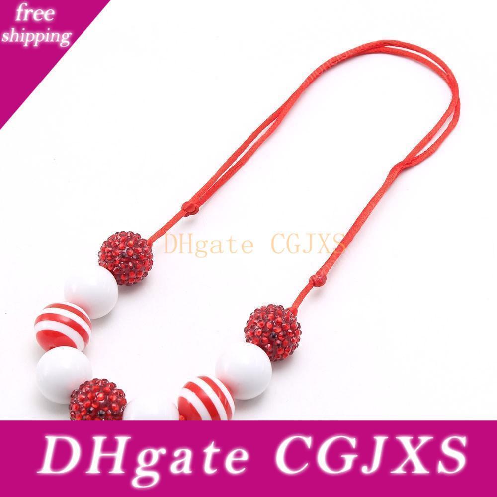 New Red Branco Chunky Bubblegum colar de moda Meninas Rhinestone Beads Colar Crianças Jóias corda ajustável para o partido