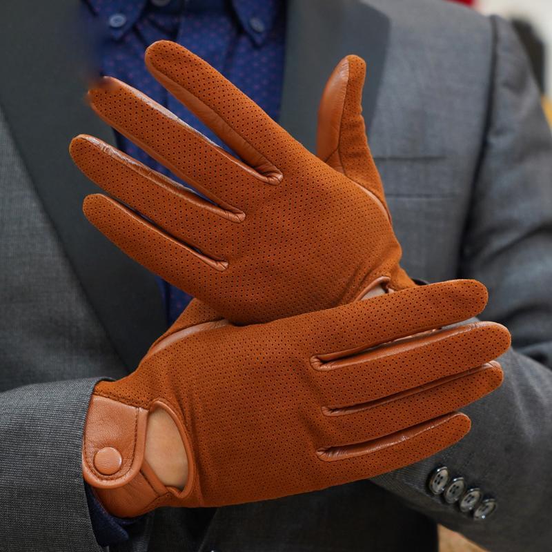 Пять пальцев перчатки из натуральной кожи мужчины зимний термический велосипедный мотоцикл вождения тонкий сенсорный экран овчины м-106