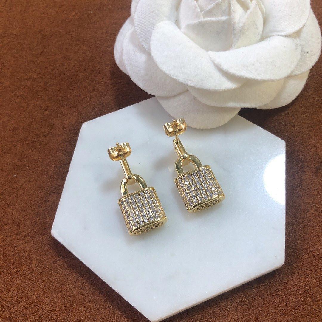 Earrings for Woman Diamond Lock Shape Earrings High Quality Brass 925 Silver Pin Earrings Fashion Jewelry Supply
