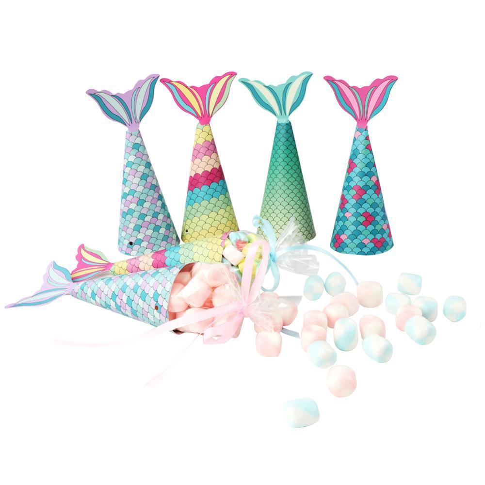 Denizkızı Kağıt Şeker Hediye Kutusu Asma Tatlı Çanta Hediyeler kızlar Düğün Doğum Denizkızı Partisi Dekorasyon Şekeri