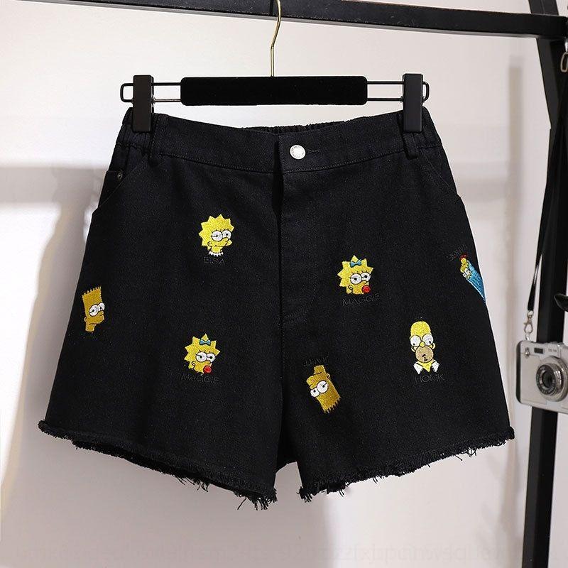 Sj23e tXg54 dimagrimento grandi dimensioni 200 kg di grasso vestiti mm2020 estivi shorts in denim ricamati delle donne allentate a forma di un ampio gamba dei pantaloni corti e pa