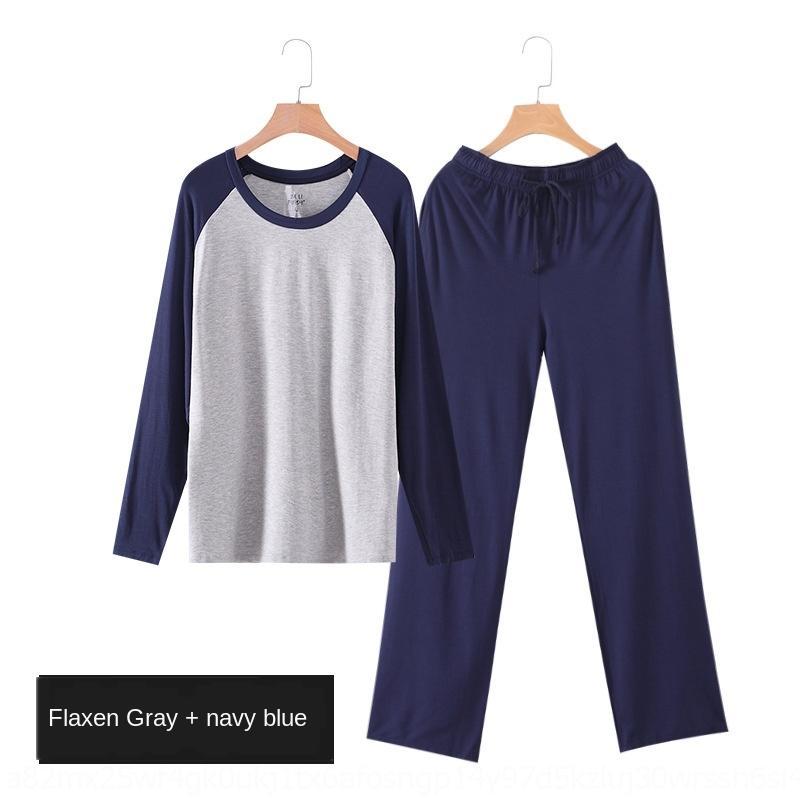 rXKwb büyük modal Suit erkek pantolon ince gevşek 2 parçalı uzun kollu Pantolon takım boyut gündelik ev giyim açık pijama