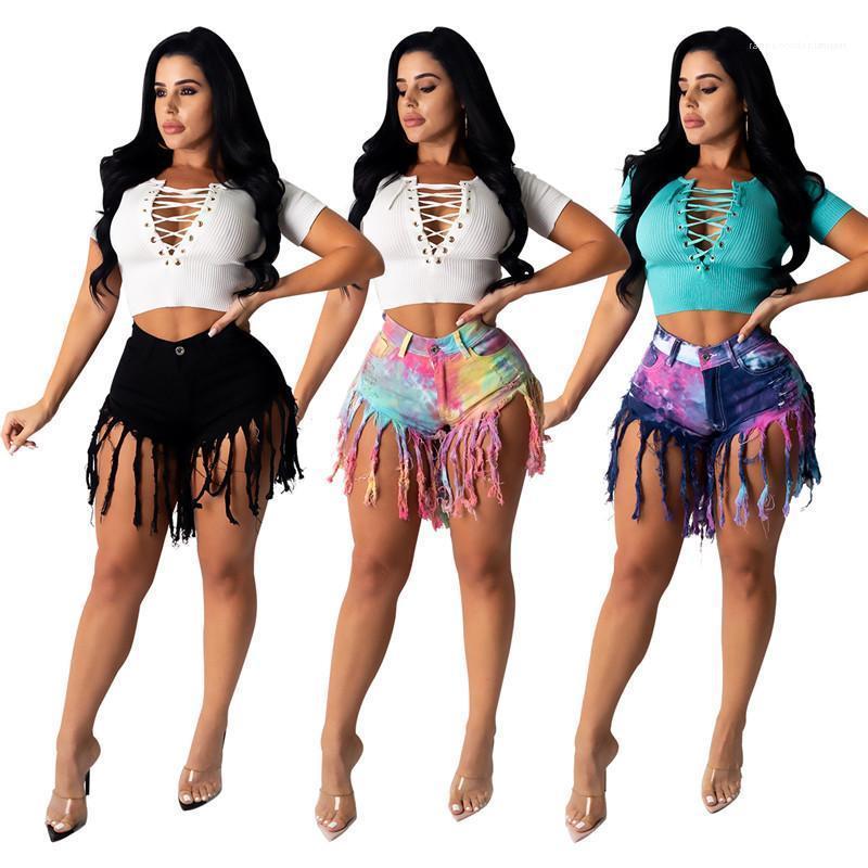 Fashion Street Style Женская одежда 20SS женщин Дизайнерские джинсы Контрастные цвета Printed середины талии кисточкой Короткие штаны