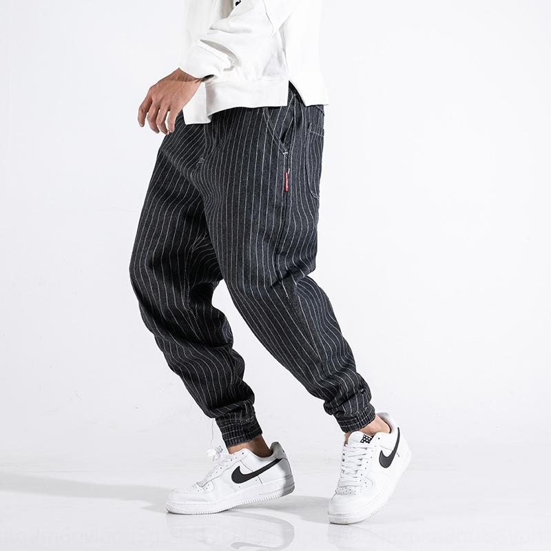 9KaQn marque sarouel mode graisse hommes noirs d'épissage d'été à la mode jeans serrés Pantalons et jeans leggings hommes rayés
