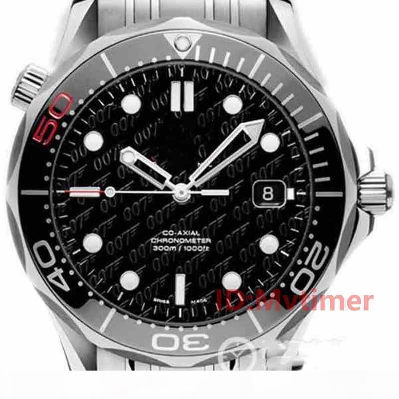 Каучуковый ремешок розового золота нержавеющей стали Мужчины Автоматическая Роскошная Часы мужские наручные часы Professional 300M Master Часы НАТО