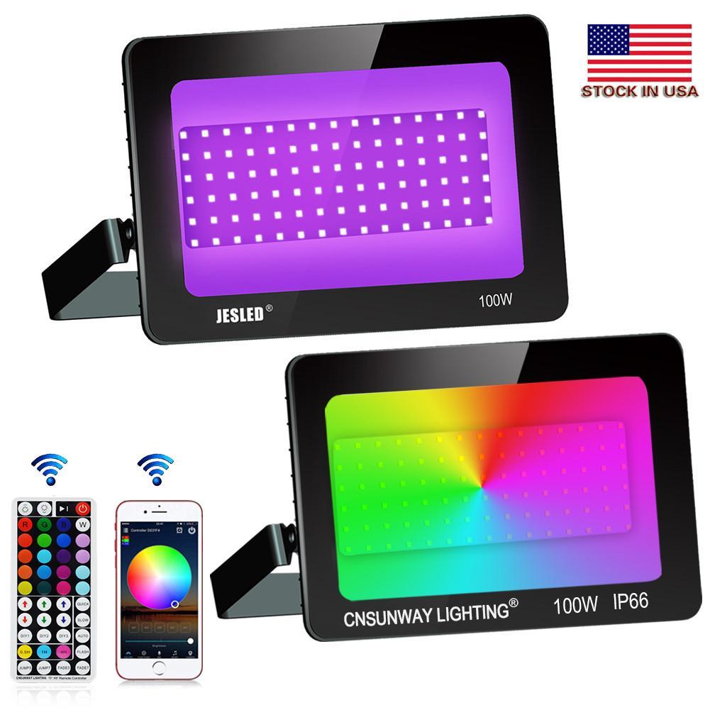1000W 상당 야외, 100W 블루투스 스마트 시경 RGB APP 제어, IP66 방수, 타이밍을 변경 LED 홍수 빛 RGB 색상