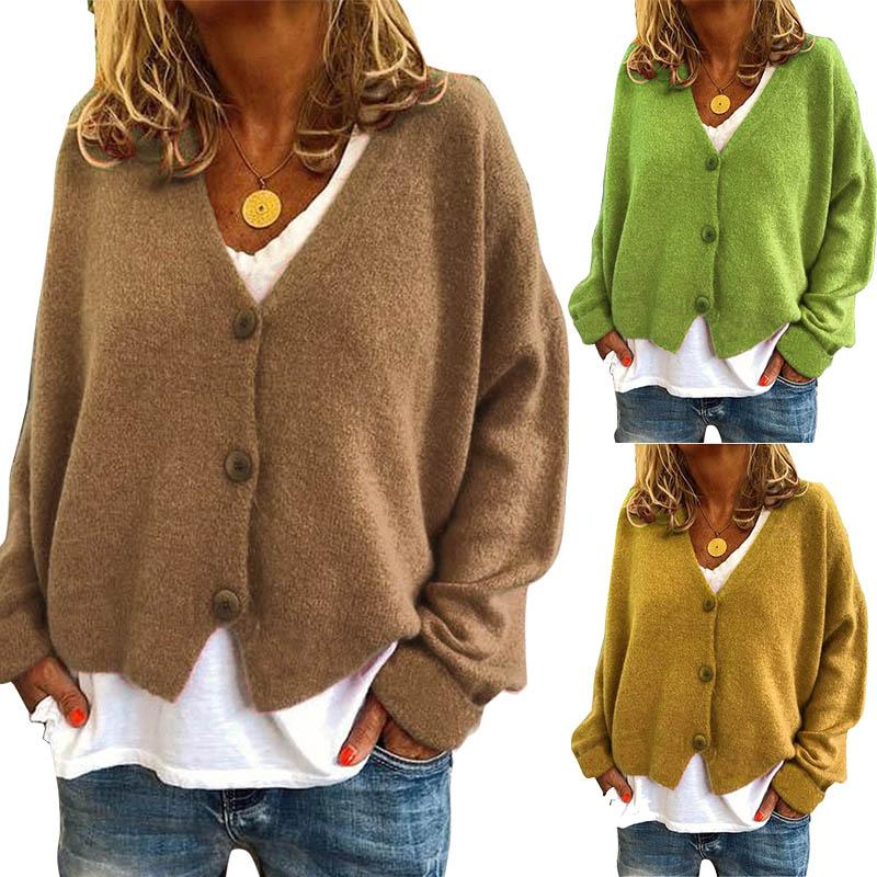 Women Cardigan Long Sleeve V Neck Sweaters Ladies Button Knit Coat Autumn Winter Female Tops Cardigans 15 Colors 050814