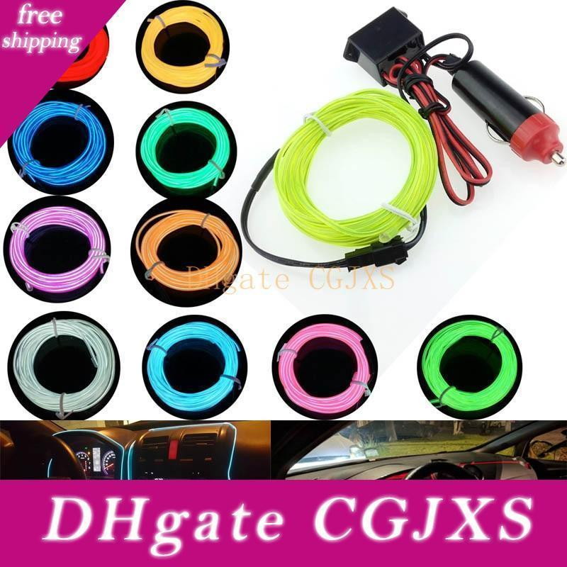 10 Colors Flexible For 1m 2m 3m 5m El Wire Rope Tube Neon Cold Light Glow Party Car Decoration With Cigarette Lighter 12v