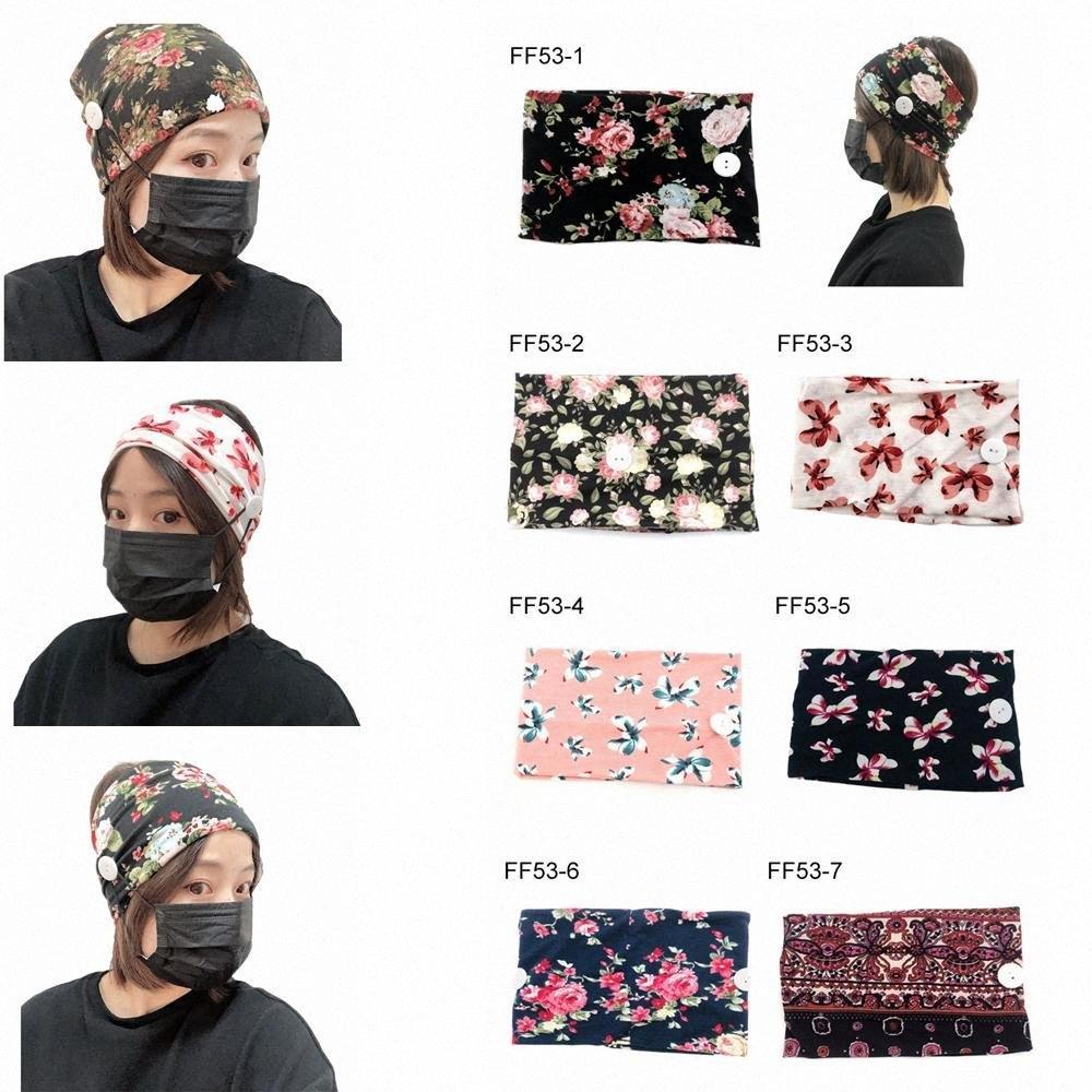 Botón Mascarilla Las vendas Imprimir Yoga Deportes Ejercicio suave de la flor Headwear para las niñas regalo Accesorios para el cabello favor de partido FFA3950 G9MI #