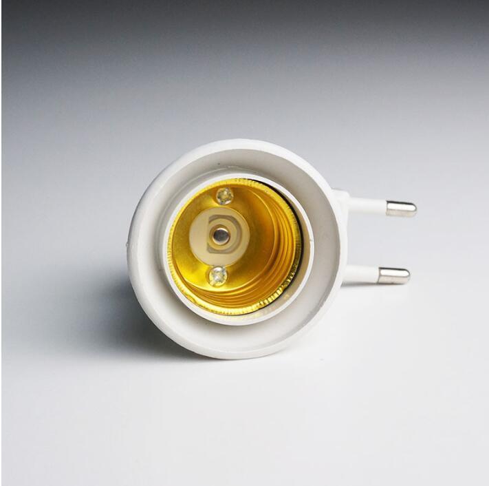 Bulb Lamp Eu Type Plug Adapter E27 Led Light Male Socket Converter With On /Off Button Holder