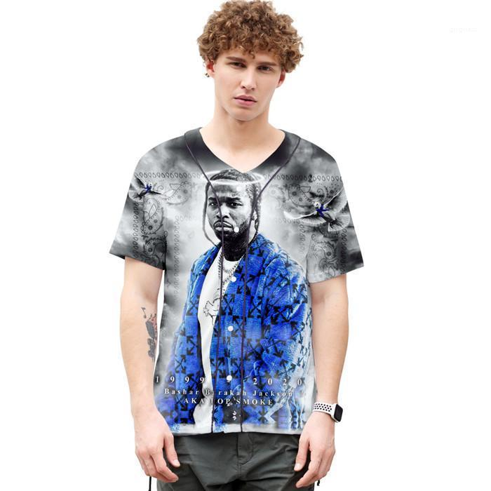 3D-Druck Homme Kleidung Mode POP Hip-Hop-amerikanische Singer Homme Kleidung Mens-Sommer-Designer-T-Shirts mit Rundhalsausschnitt Shorts Sleeve Cardigan