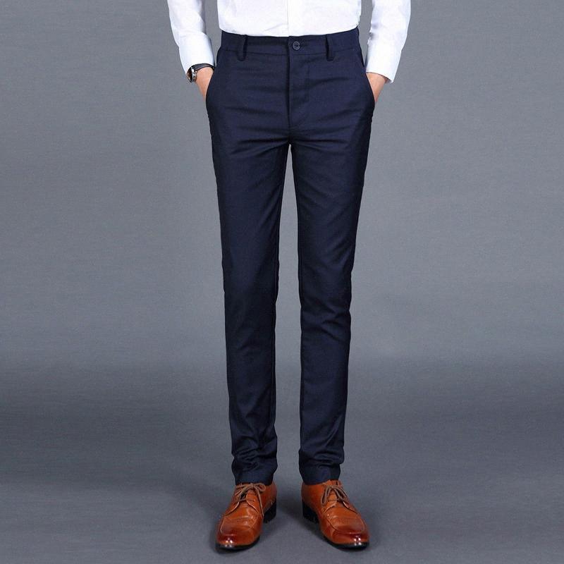 2020 2020 pantalon de costume des loisirs des hommes d'affaires Robe Pantalons Pantalons Slim Fit Pas de repassage Au printemps et en été Costume de mariage De Bian 0dUa #