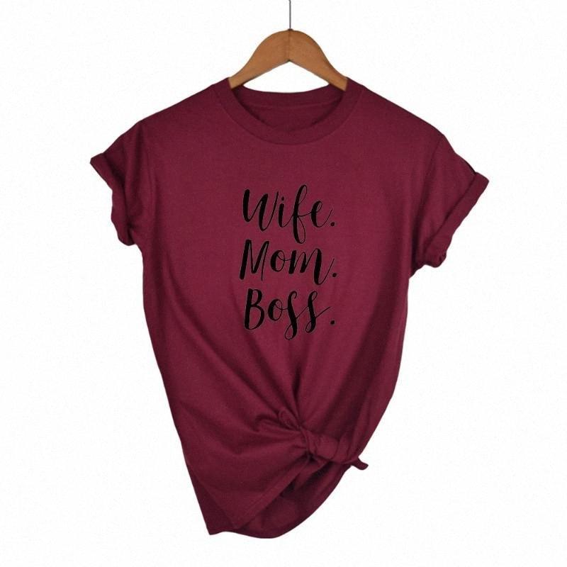 MOGLIE MOM lettere Stampa divertente maglietta delle donne maglietta del cotone casuale per la signora Girl Top Tee Hipster Drop Ship ARRV #