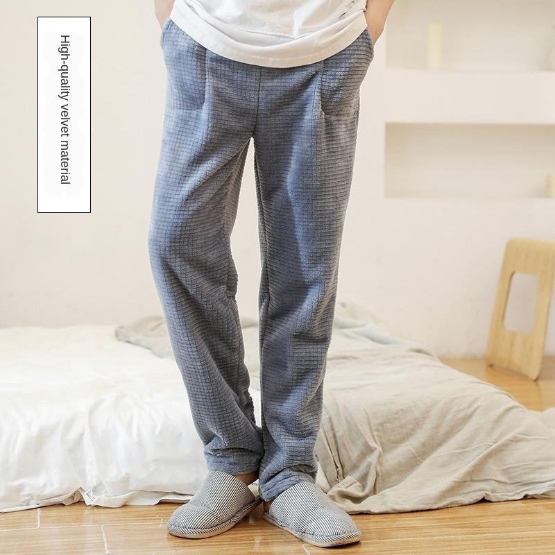 LDyoO Outono SXe6A quente inverno quente novo single de alta densidade de arroz campo de veludo calças individuais casuais e Casa PARES pijama calças home homens e