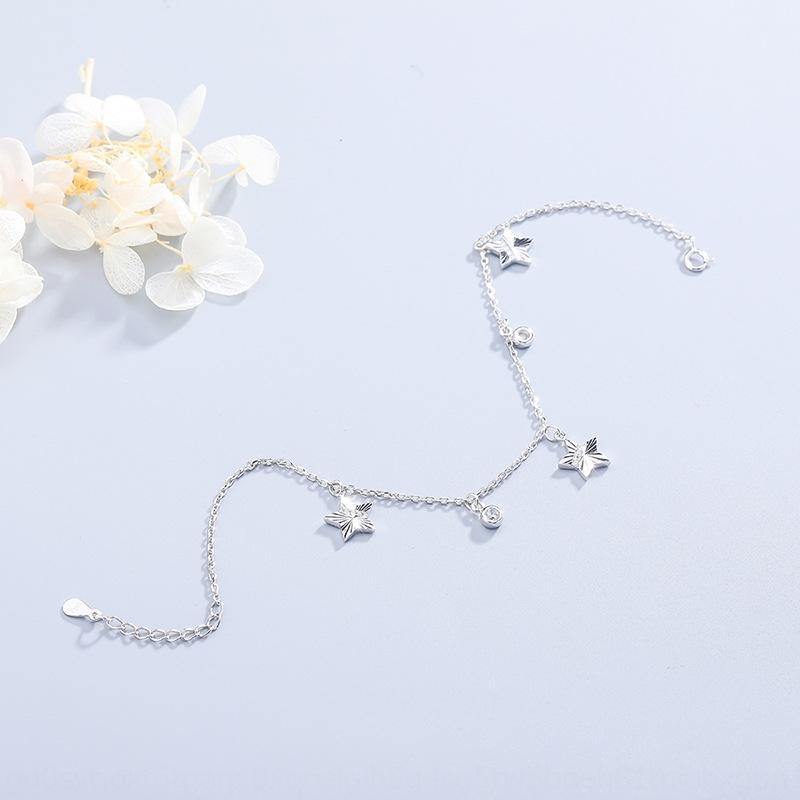 fiore auto nuova moda in argento sterling semplice stella a cinque punte delle donne cavigliera S925 tutto-fiammifero fatti a mano con diamanti gioielli cavigliera Diamon