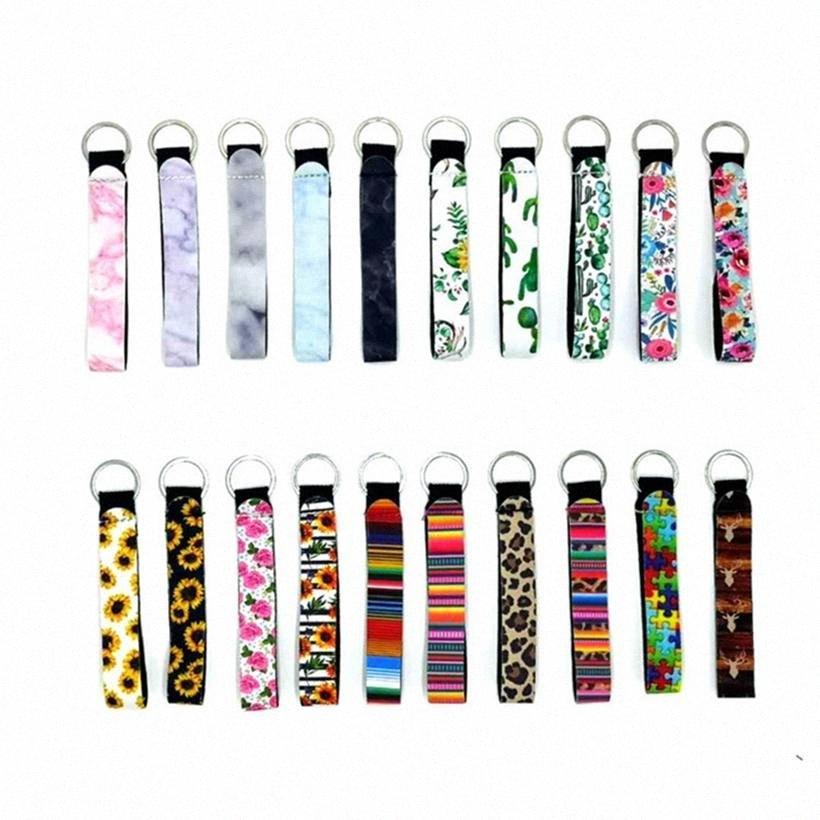 Néoprène Wristlet Keychain coloré imprimé Porte-clés de tournesol Leopard arc-en-impression Keychain Wristlet suspendus Cordes HHA1306 INSV #