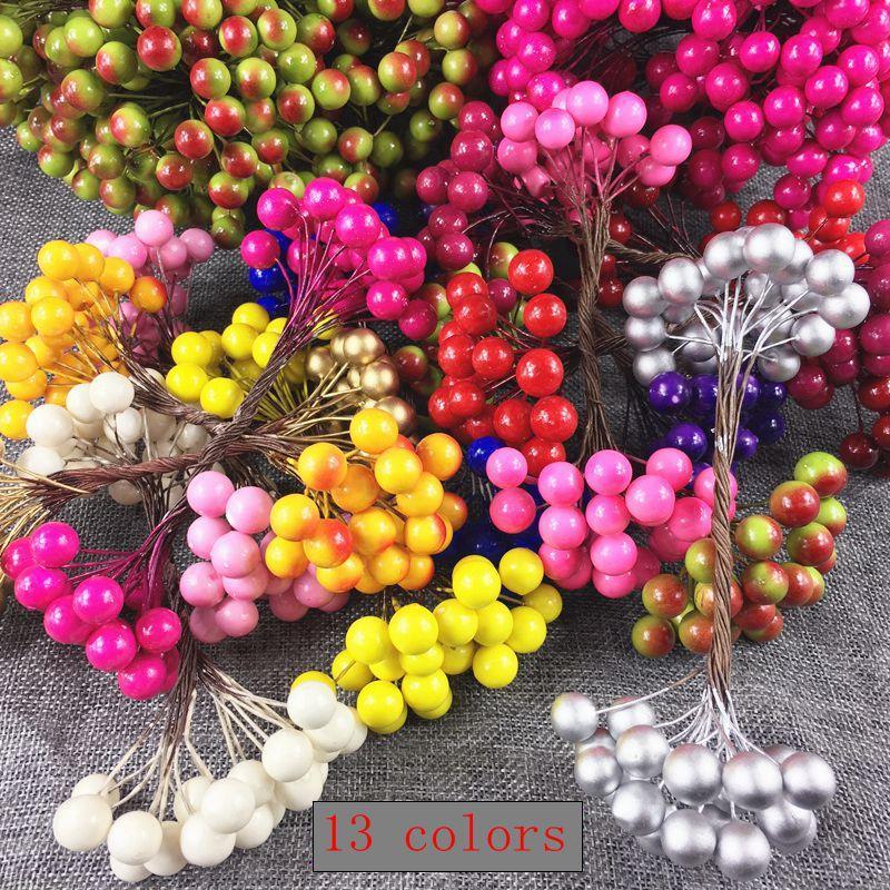 25pcs 50heads Yapay Çiçek Mini Berry Bacca Buket İçin Düğün Dekorasyon DIY Scrapbooking Dekoratif Çelenk Sahte Çiçekler
