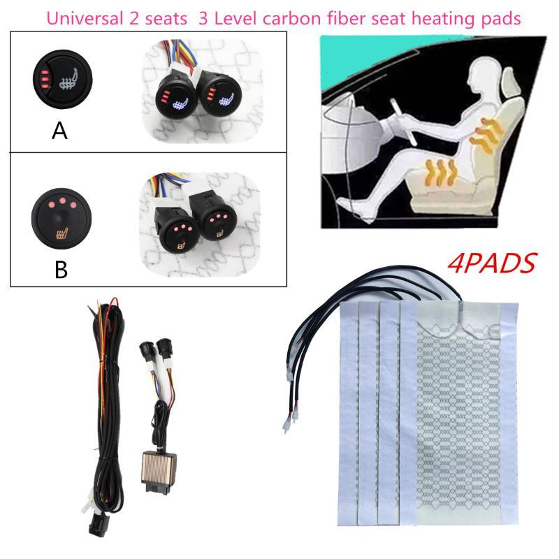 4pcs 3 Nivel 12V fibra de carbono del coche universal con calefacción calefacción del asiento Calentador de ratón del calentador del invierno cubiertas del asiento
