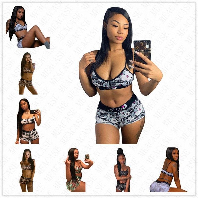 Marken-Frauen druckte Badebekleidung 2 Pieece Sport-BH und Shorts Trendy Bikini-gesetzte Badeanzug Bademode Schwimmen Sommer Badeanzug S-XL D Malr #