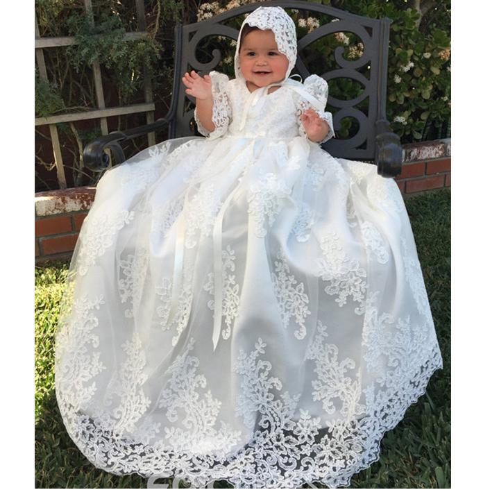 Baile Renda Meninas do bebê Primeira Comunhão Vestido Flower Girl vestidos longos 2019 Criança Aniversário Batizado Crianças vestidos Adorável