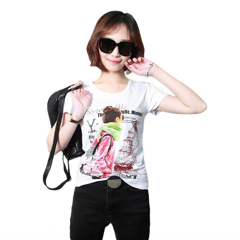 Yaz yeni kadın baskılı kadın kısa kollu T-tişört yuvarlak boyun Kore temel gömlek A114