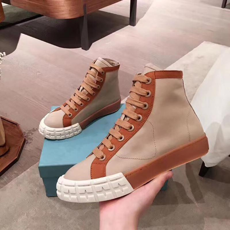 High top canvas shoes women 2020 lace up thick flat sole shoes P home color matching breathable fashion casual shoes with box and dustbag
