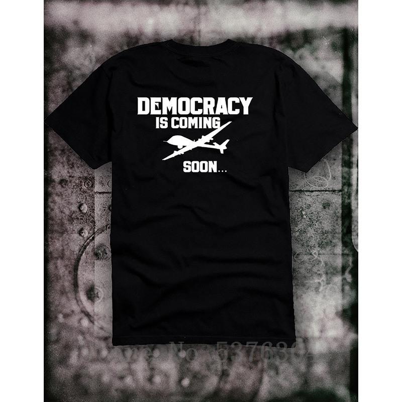 T Shirt La democrazia è in arrivo Usa Cia Terrore guerra Fbi Iside Libertà Antifa Is maglietta camisetas maglietta di cotone IMPRIME