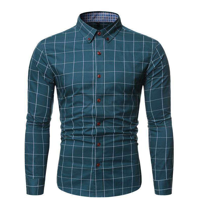 Camicia da uomo in camicia da uomo camicia a quadri della gioventù a maniche lunghe a quadri