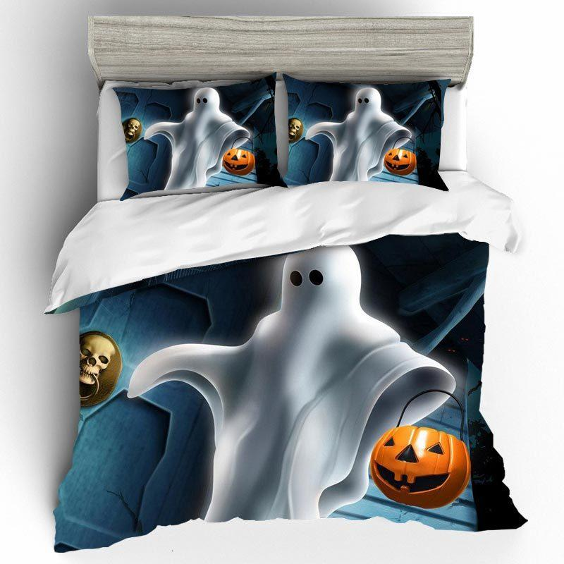 Bed Linen Cotton King Size Duvet Cover Bedding Set Duvet Cover Halloween Pumpkin and Ghosts 3D Bedding Set Duvets and Linen Sets